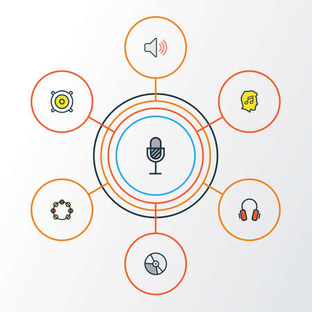 Multimedia Colorful Outline Icons Set. Collection Of Loudspeakers, Volume, Amplifier And Other Elements