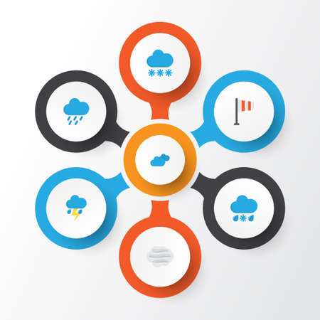 Air Flat Icons Set. Collection Of Snow, Banner, Overcast And Other Elements