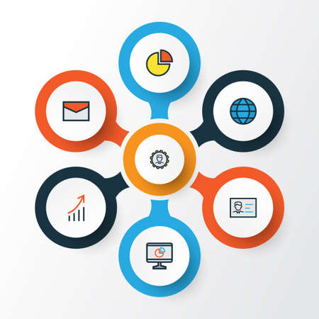 Business Colorful Outline Icons Set. Collection Of Id Badge, Pie Chart, Financial Profit And Other Elements Illustration