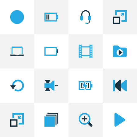 repeatability: Multimedia Colorful Icons Set. Collection Of Begin, Film, Notebook And Other Elements