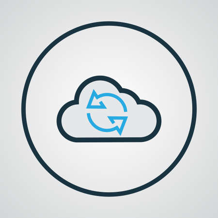 repeatability: Premium Quality Isolated Cloud Element In Trendy Style.  Synchronize Colorful Outline Symbol. Illustration