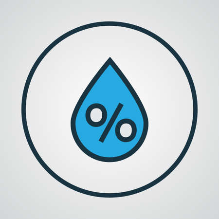 damp: Premium Quality Isolated Raindrop Element In Trendy Style.  Percent Colorful Outline Symbol.