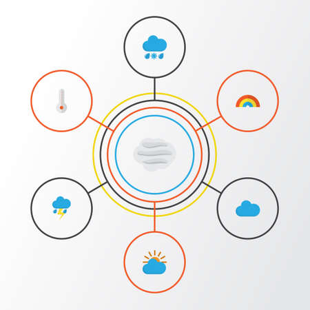 Weather Flat Icons Set. Collection Of Temperature, Bow, Windy And Other Elements. Also Includes Symbols Such As Rainbow, Temperature, Wind.