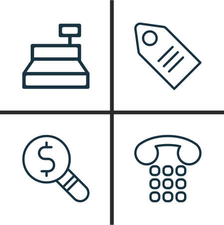 pager: Ecommerce Icons Set. Collection Of Till, Callcentre, Ticket And Other Elements. Also Includes Symbols Such As Research, Till, Cashbox.