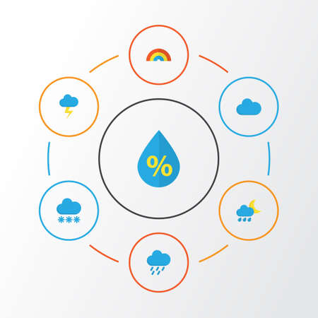 Climate Flat Icons Set. Collection Of Bow, Cloud, The Flash And Other Elements. Also Includes Symbols Such As Lightning, Flash, Bow. Illustration