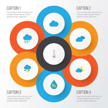 Air Flat Icons Set. Collection Of Drop, Temperature, Shower And Other Elements. Temperature, Cloud.
