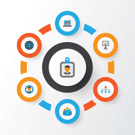 career entry: Business Flat Icons Set. Collection Of Diagram, Presentation Board, Developer And Other Elements