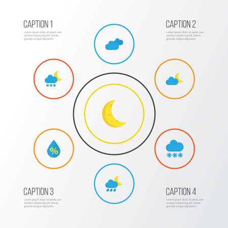 Air Flat Icons Set. Collection Of Overcast, Moon, Crescent And Other Elements