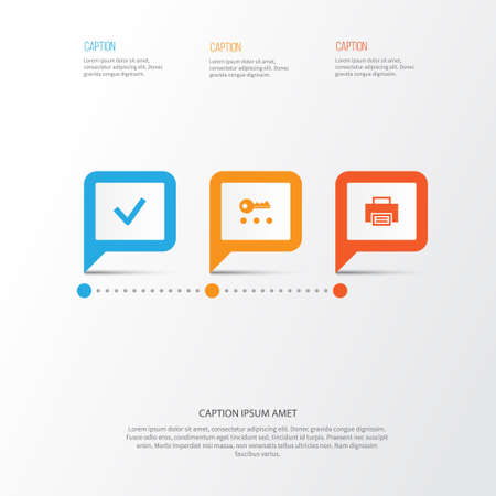 User Icons Set. Collection Of Printer, Done, Key And Other Elements Illustration