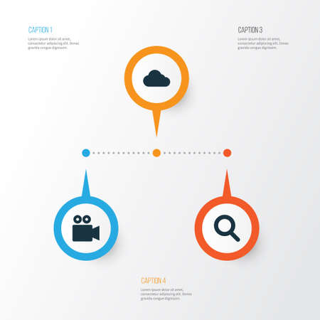 Internet Icons Set. Collection Of Overcast, Magnifier, Camcorder And Other Elements Ilustrace