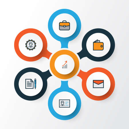 billfold: Trade Colorful Outline Icons Set. Collection Of Message, Administrator, Financial Profit And Other Elements