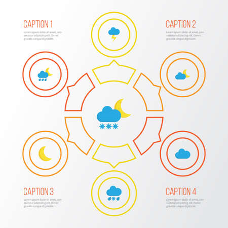 Weather Flat Icons Set. Collection Of Crescent, Cloud, The Flash And Other Elements