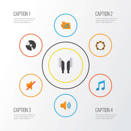 red sound: Multimedia Flat Icons Set. Collection Of Earpiece, Audio, Quiet And Other Elements
