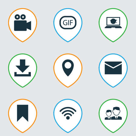 Media Icons Set. Collection Of Wireless Connection, Letter, Camcorder And Other Elements Ilustrace