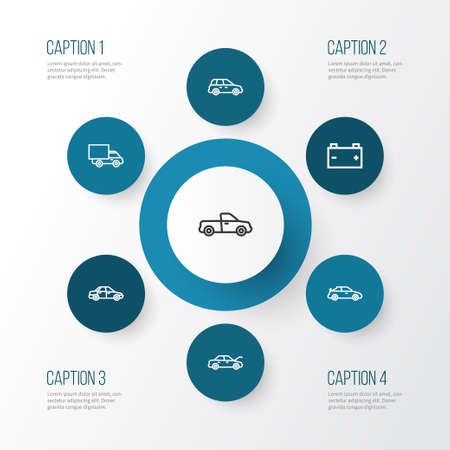 Car Outline Icons Set. Collection Of Van, Crossover, Car And Other Elements