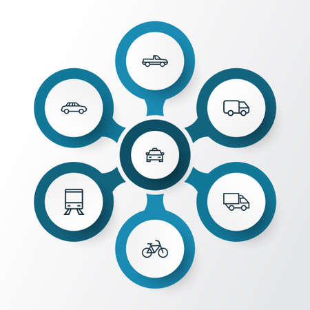 Transportation Outline Icons Set. Collection Of Pickup, Taxi, Bogie And Other Elements
