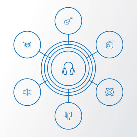 Music Outline Icons Set. Collection Of Earphones, Orator, Audio Level And Other Elements Illustration