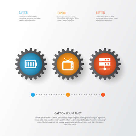 Media Icons Set. Collection Of Datacenter, Television, Full Battery And Other Elements Illustration