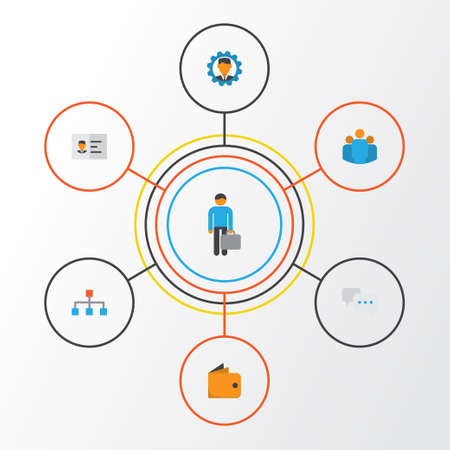 Business Flat Icons Set. Collection Of Chatting, Identification, Group And Other Elements Illustration