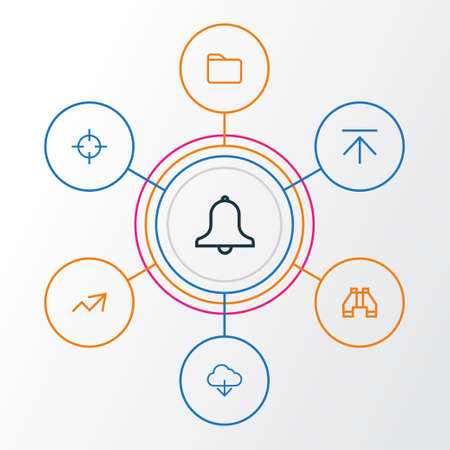 User Outline Icons Set. Collection Of Alarm, Upload, Find And Other Elements