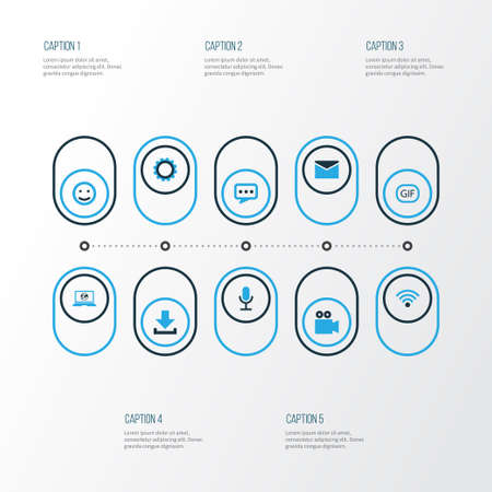 Social Colorful Icons Set. Collection Of Download, Smile, Wifi And Other Elements