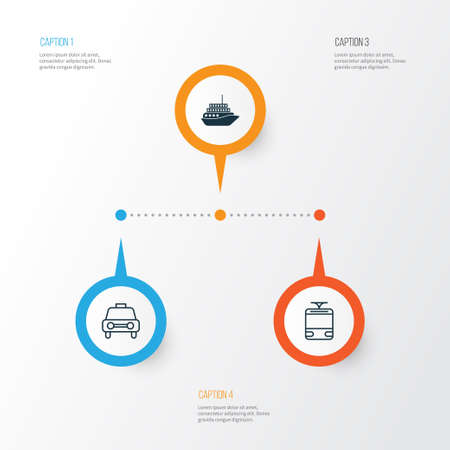 motorboat: Vehicle Icons Set. Collection Of Taxi, Streetcar, Cruise And Other Elements
