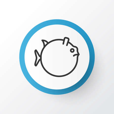 Premium Quality Isolated Butterflyfish Element In Trendy Style.  Globefish Icon Symbol.