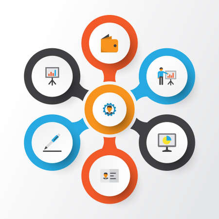 billfold: Business Flat Icons Set. Collection Of Billfold, Identification, Developer And Other Elements Illustration