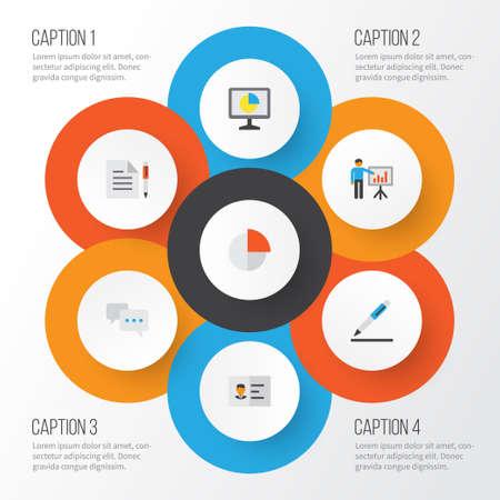 ビジネス フラット アイコン セット。パイ バー、男、統計、その他の要素を提示のコレクション