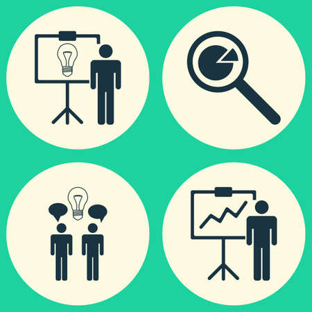 meet up: Executive Icons Set. Collection Of Project Analysis, Co-Working, Solution Demonstration And Other Elements