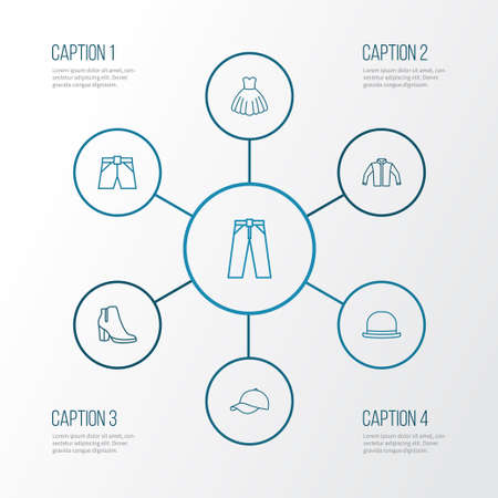 Garment Outline Icons Set. Collection Of Pants, Heels, Briefs And Other Elements Illustration