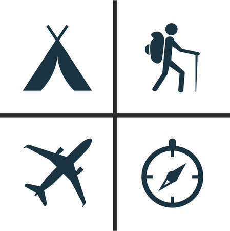 Journey Icons Set. Collection Of Booth, Traveler, Guide And Other Elements Illustration