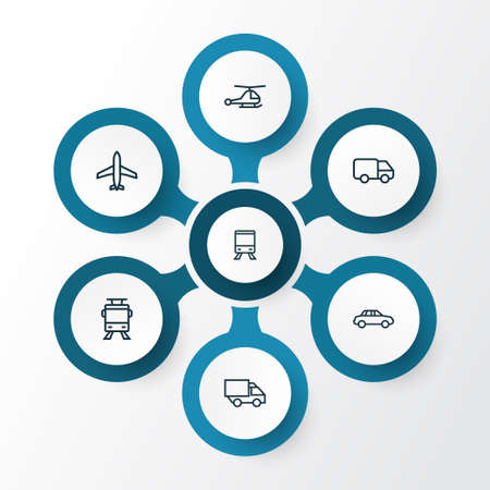 Shipment Outline Icons Set. Collection Of Train, Aircraft, Streetcar And Other Elements