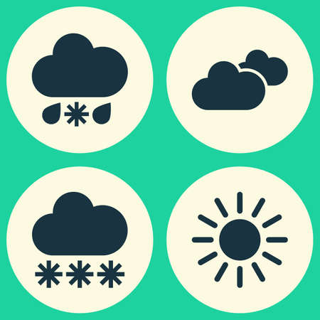 sleet: Weather Icons Set. Collection Of Weather, Snowy, Wet And Other Elements