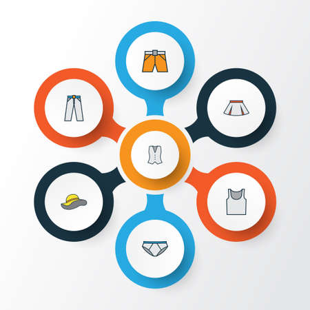Clothes Colorful Outline Icons Set. Collection Of Panties, Elegant Headgear, Underwear And Other Elements