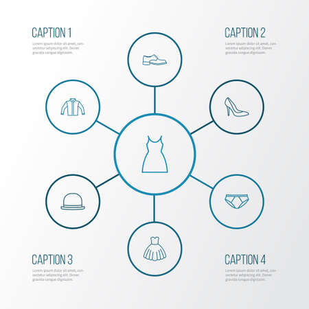 Clothes Outline Icons Set. Collection Of Shoe, Fedora, Dress And Other Elements