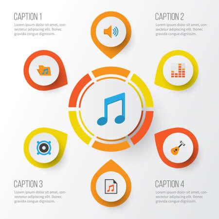フラットの音楽のアイコンを設定します。ポートフォリオ、オーディオ、音および他の要素のコレクション  イラスト・ベクター素材