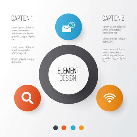 Social Icons Set. Collection Of Wireless Connection, Magnifier, Inbox And Other Elements Ilustrace