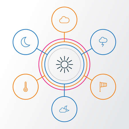 Air Outline Icons Set. Collection Of Stormy, Night, Sun And Other Elements