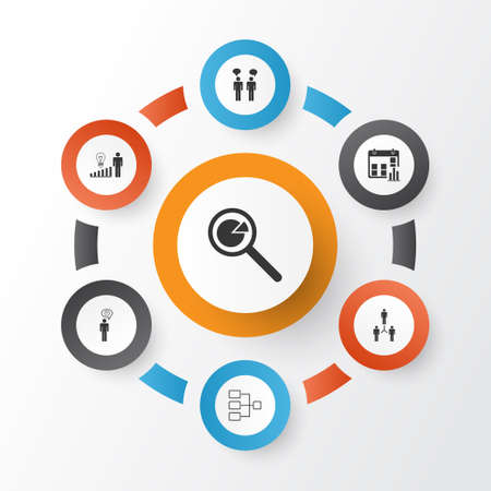 Executive Icons Set. Collection Of Presentation Date, Project Analysis, Group Organization And Other Elements