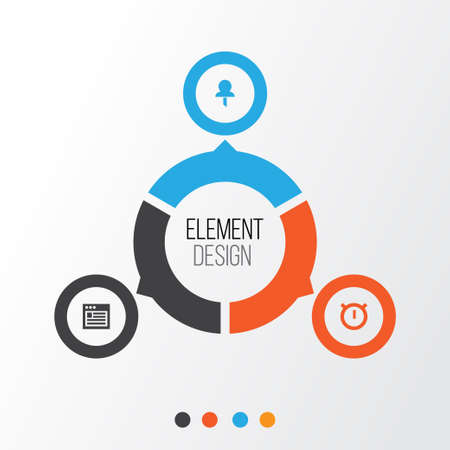 tack: Interface Icons Set. Collection Of Web, Pushpin, Second Meter And Other Elements