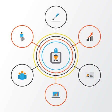 Job Flat Icons Set. Collection Of Identification, Increasing, Group And Other Elements Illustration