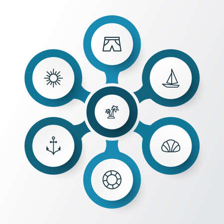 Season Outline Icons Set. Collection Of Briefs, Sunny, Ship And Other Elements