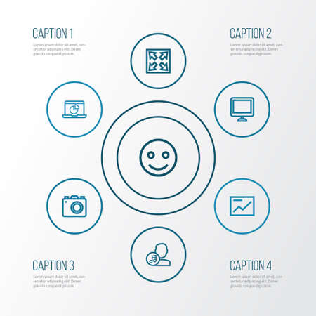 melodist: Multimedia Outline Icons Set. Collection Of Infographic, Screen, Camera And Other Elements. Also Includes Symbols Such As Camera, Slideshow, Smile. Illustration