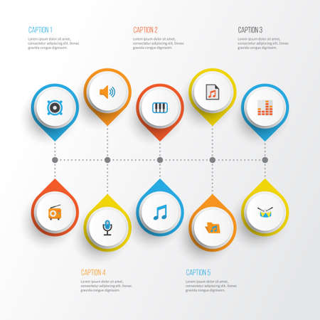 Music Flat Icons Set. Collection Of Loudspeaker, Controlling, Broadcasting And Other Elements