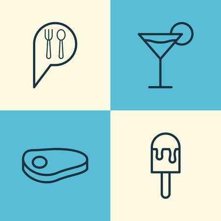 supper: Cafe Icons Set. Collection Of Sorbet, Steak, Check In And Other Elements Illustration
