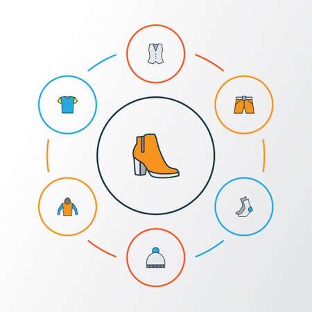 Clothes Colorful Outline Icons Set. Collection Of Female Boots, Socks, Beanie And Other Elements Illustration