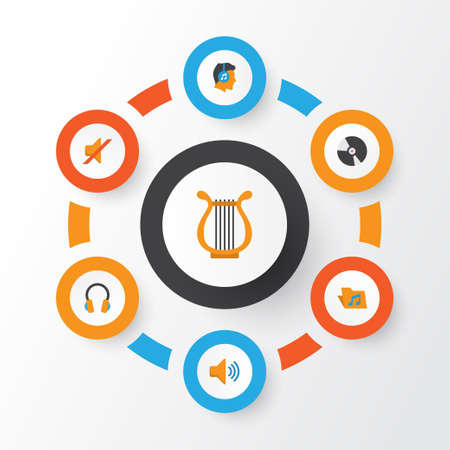 Music Flat Icons Set. Collection Of Audio, Dj, Quiet And Other Elements