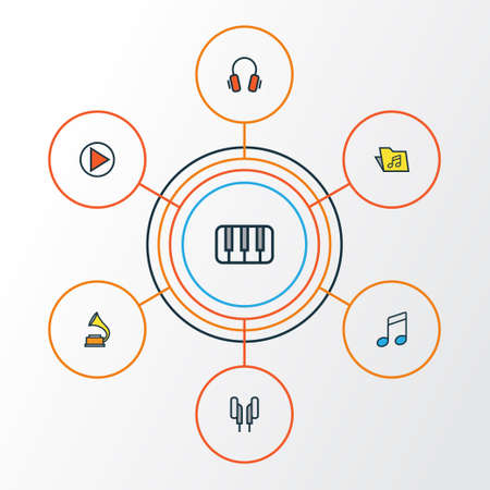 octave: Audio Colorful Outline Icons Set. Illustration