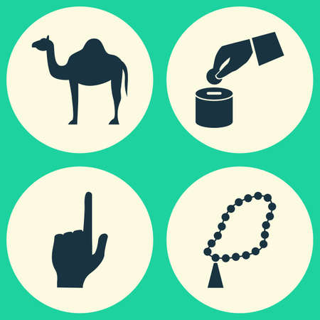 beneficence: Holiday Icons Set. Collection Of Pointer Finger, Beneficence, Beads And Other Elements. Also Includes Symbols Such As Beads, Blessing, Pointer.